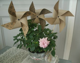 set of 3 windmills in paper No. 2