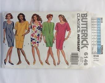 Butterick 6146 dress pattern. Uncut, vintage summer shift size xs, s, m