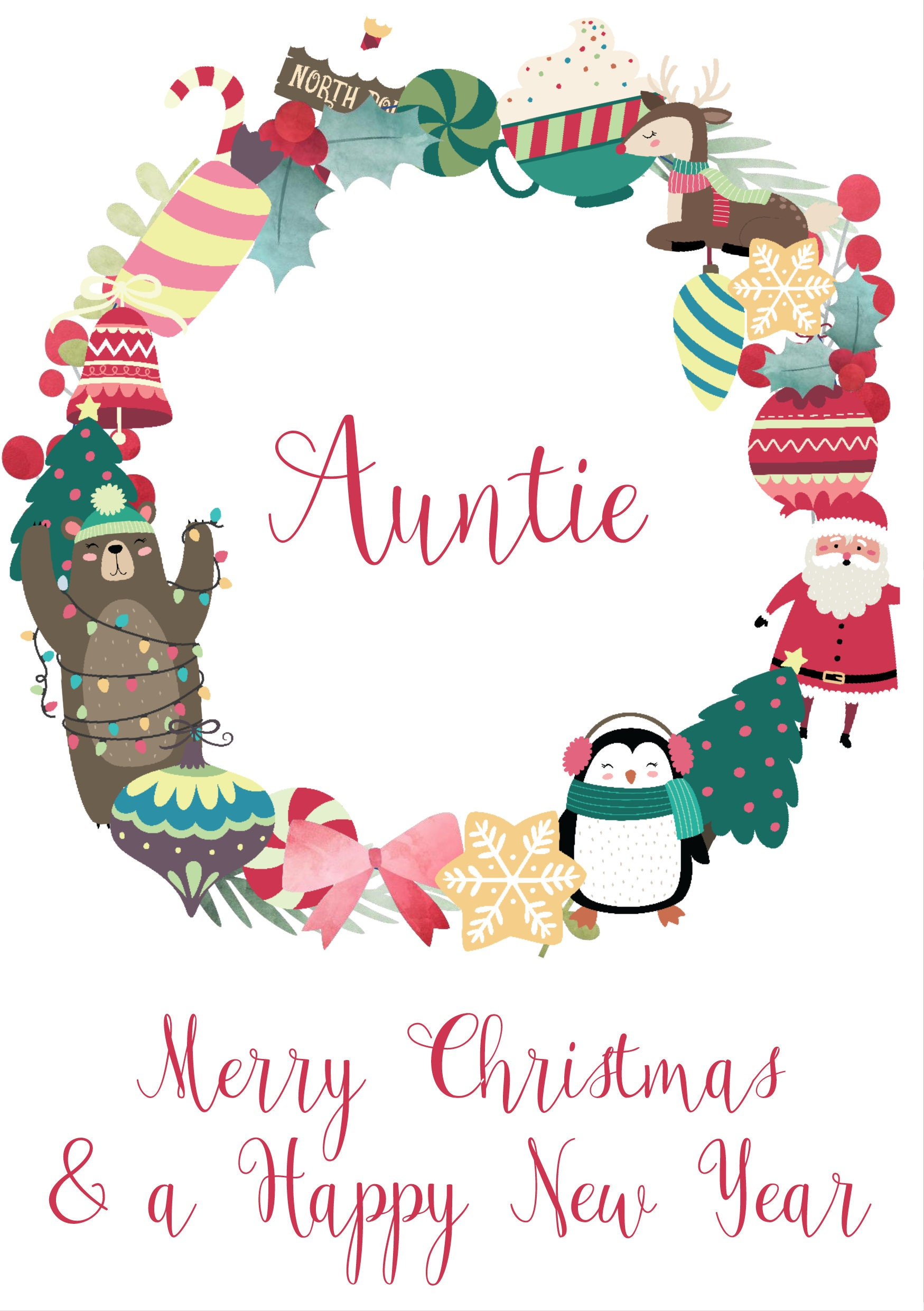 Christmas greeting card auntie festive holidays seasonal christmas greeting card auntie festive holidays seasonal envelopes a5 kristyandbryce Image collections