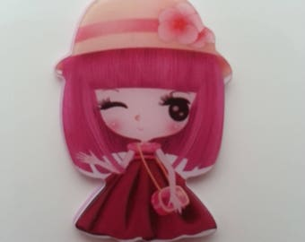 cabochon plat en résine  petite fille robe prune   25*35mm