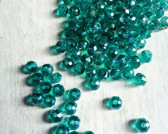 50 small green Crystal beads