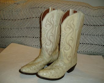 VINTAGE FULL QUILL ostrich nocona western boots