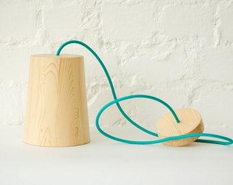 "Wood pendant light ""STAKAN"", contemporary handmade fixture"
