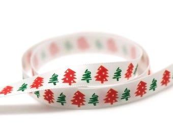"""Christmas tree"" satin ribbon 3 m 10 mm, white"
