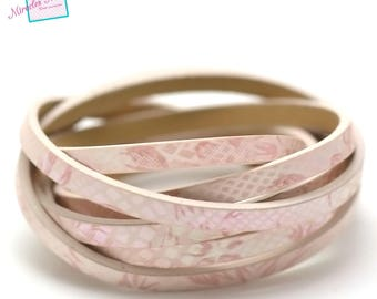 """Pink leather double fantasy """"shell flower"""" 5 mm 1.2 m"""
