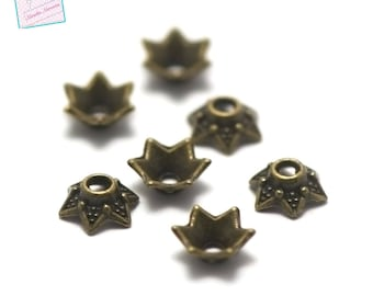 50 bead caps/bead caps 6x3mm Bronze 001