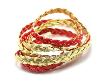 1 m cord strap braided 7 x 2 mm, faux leather, red/gold