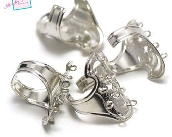 """gorgeous 4 """"10 holes"""" rings, silver holders"""