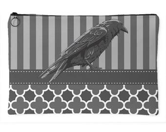 Raven Gray Stripes Trendy - Large Accessory Pouch
