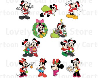 Mickey & Minnie on Christmas Svg, Eps, Dxf and Png formats - 11 Cliparts - Digital Download
