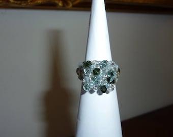 ring in swarovski crystal pearls, l ' aquamarine