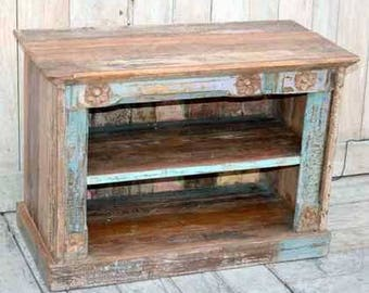 Small Carved TV Bookcase, Reclaimed Wood, from Rajasthan, India