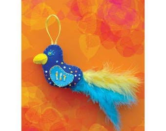 Sewing Kit to create this beautifully decorated feathered bird / creative DIY complete Kit