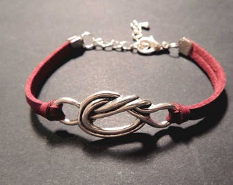 Burgundy suede leather bracelet, metal bow