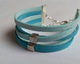 Bracelet wide multi-row Blue Suede
