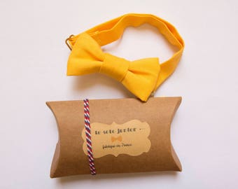 Kids adjustable yellow cotton bowtie
