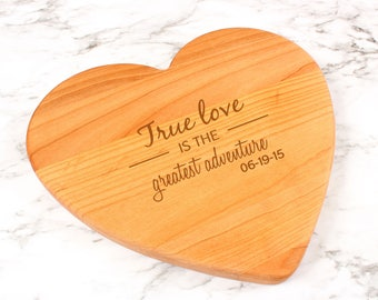 Engraved Heart Shaped Cutting Board,Valentine's Day Gift,Wedding Gift,Christmas Gift,Anniversary Gift,Engagement Gift