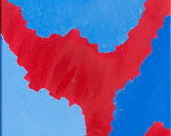 Abstract  Canvas Art, Modern Original Framed Deep Edged, Oil Painting. Artist Peter Davies. Title: Red Blue Rocks. Size. 40 x 40 x 4cm