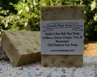Sadie's Sea Salt Spa Soap w/Shea, Green Ginger Tea, & Rosemary