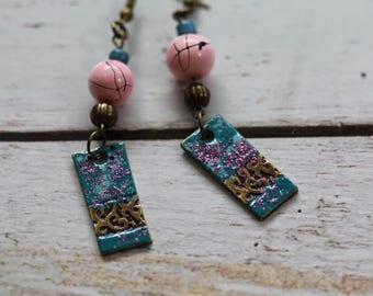 Oslo earrings pearls and enameled brass