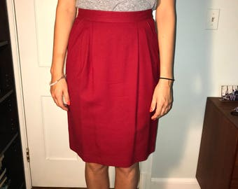 Evan Picone Red Pencil Skirt with Pockets