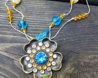 Bronze flower pendant necklace
