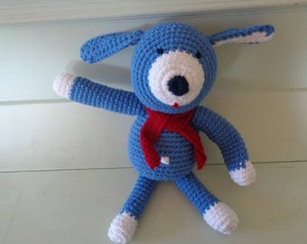 Blue puppy crochet blanket