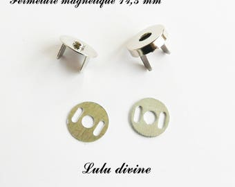10 magnetic clasps, magnetic closure for bag Ø 14.5 mm silver - frame