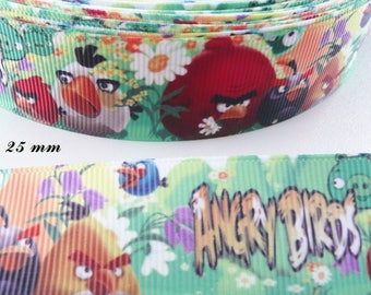 Angry birds 25 mm grosgrain Ribbon sold by 50 cm
