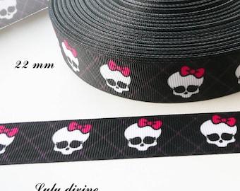 Monster 22 mm black jacquard grosgrain Ribbon sold by 50 cm