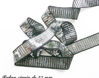 Ribbon / lace sequin glitter 25 mm, sold by 50 cm: Black Silver