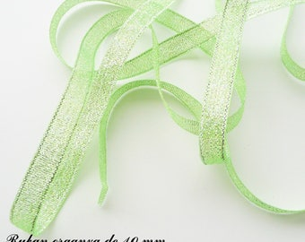 Glitter 10 mm, sold in 2 meters organza Ribbon: green with silver threads