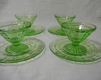 Green Block Optic Sherbets and Sherbet Plates