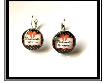 "Earrings original and funny,""Miss Chatterbox""bow, black, polka dots, polka dots, funny, MOM"