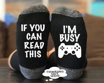 If you can read this- I'm Gaming- I'm busy - Socks - Funny Novelty Gag Gift Idea- Birthday Gift- Christmas Gift- Unisex Socks - Gamer Socks