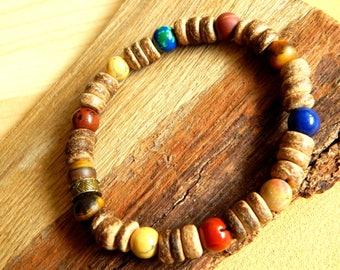 Men's Jasper gemstone Beads Bracelet, agate, Tiger eye and antique bronze