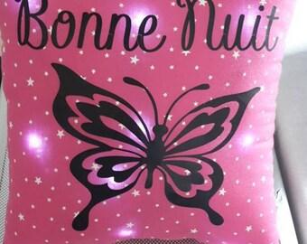 Mini pillow bright Fuchsia theme 20x20cm starry pattern tie, to customize