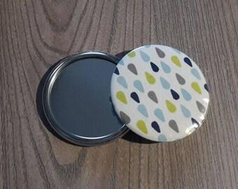mirror size is 58 mm fabric gray green blue rain drops