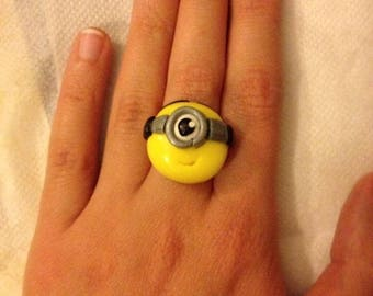 Polymer model little Minion polymer clay ring