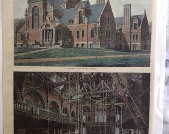 "Harpers weekly hand colored print ""The New Harvard Gymnasium"" from the 1800's"