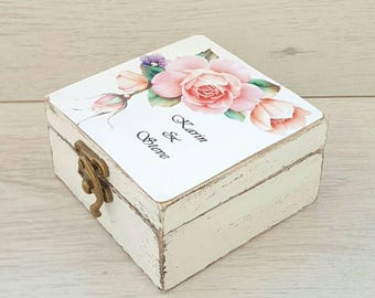 Personalized ring box, Wedding rustic bearer box, Ring holder pillow, Custom ring box, Wedding ring box, Wooden box,  Ring bearer box rose