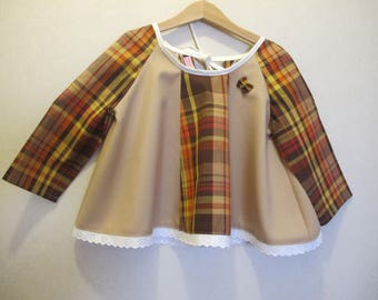tunic large baby girl in Brown madras 2 years