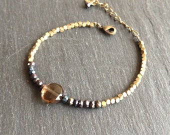 bright boho chic bracelet smoky quartz gemstones