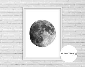 Moon Print, Planet Wall Art, Moon Printable, Universe Print, Planetary System, Black and White, Digital Download, Moon Wall Art