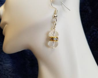 Clear and crystal dangle earrings
