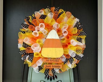 Halloween wreath, Candy Corn wreath, Fall wreath, Holiday wreath, Seasonal wreath, deco mesh wreath, No Tricks Just Treats