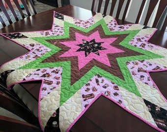 Star Shaped Table Topper Quilt pattern, 2 sized included