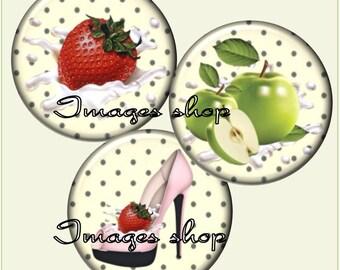 Envoi gratuit ! Images digitales MULTIVITAMINE- fraise, pomme chaussure - A pois