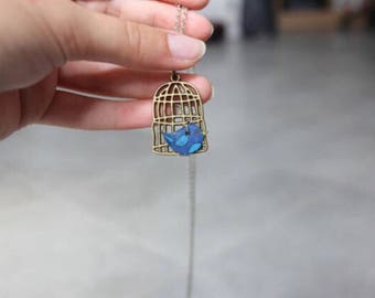 Blue and white birds cage necklaces
