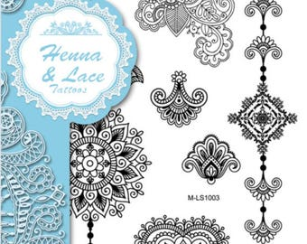 FREE GIFT}}Flower Heart Henna Pattern temporary tattoos 15cm x 21cm